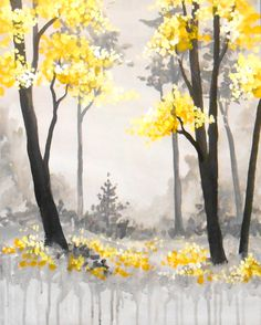 Forêt Noir et Jaune - Pinot's Palette - Lexington, MA - - A lovely french grey forest with bright yellow accents that uses a variety of paint techniques for a lively paint session. Diy Painting, Painting & Drawing, Watercolor Paintings, Forest Painting, Paint And Sip, Wow Art, Cool Paintings, Pictures To Paint, Tree Art