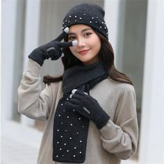 9299e1eb392 91 Inspiring winter hat scarf and gloves set for women images ...