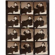 Judy Garland photographed by Richard Avedon. One of a group of eight contact sheets of a session with Judy Garland for her 1968 Blackglama advertisement. Gelatin silver contact prints, 8 x 10 inches (253 x 203 mm), with 90 poses (and 6 blanks) images marked in crayon, including the one that was selected for the published ad.