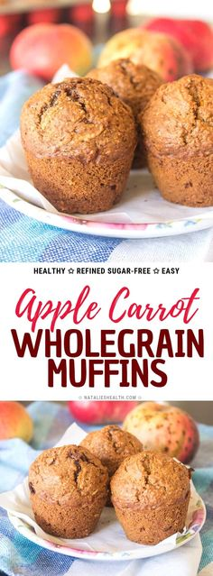 Healthy Apple Carrot Muffins are perfect treat. These muffins are made with HEALTHY ingredients super nutritious and loaded with healing spice CINNAMON. Wholegrain refined sugar-free and just delicious these muffins are great breakfast or afternoon snack. Apple Recipes, Baking Recipes, Coconut Sugar Recipes, Buttermilk Muffins, Healthy Breakfast Muffins, Healthy Apple Muffins, Sugar Free Apple Muffins, Healthy Afternoon Snacks, Carrots