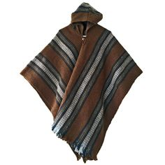 BROWN LLAMA WOOL MENS HOODED PONCHO CAPE COAT JACKET CLOAK HANDWOVEN IN ECUADOR