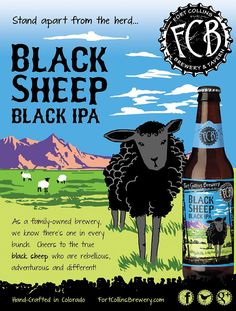 #IPA #Craftbeer #beer A result of fortunate contradiction, Black Sheep, Black India Pale Ale is an elegantly blended array of bright citrus and earthly hop aromas with subtle notes of chocolate and coffee. It is especially smooth for its dark appearance, but contains a solid malt backbone, setting the stage for an artfully crafted arrangement of hops. Available January - March in bottled 4-packs.
