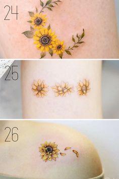 Sunflower Tattoo Meaning, Sunflower Tattoo Small, Sunflower Tattoos, Sunflower Tattoo Design, Small Dragonfly Tattoo, Tiny Tattoo, Small Tattoos, Pretty Flower Tattoos, Lily Flower Tattoos