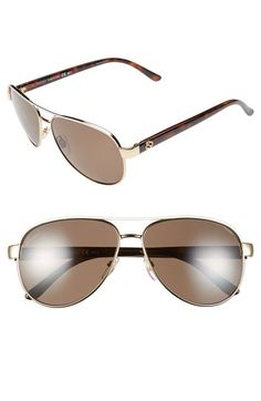 Gucci 58mm Polarized Aviator Sunglasses | Nordstrom Ivory and brown/black