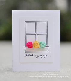 DeNami Felt Rosebuds Window Box card by Deb Window Box Flowers, Flower Boxes, Paper Art, Paper Crafts, Mixed Media Cards, Rose Buds, Scissors, Handmade Cards, Spotlight