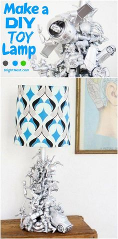 Recycle old toys into a funky lamp base with some glue and spray paint. Talking point!