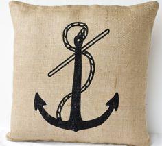 Beach Cottage Burlap Pillow - Anchor