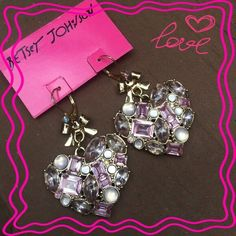 """Betsey Johnson Heart earrings NWT bet set Johnson heart earrings with gold colored bows. """"Happy Pretty"""" mixed bead cluster drop Betsey Johnson Jewelry Earrings"""