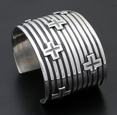 Andy Cadman - Lined Sterling Silver Cuff Bracelet with Crosses