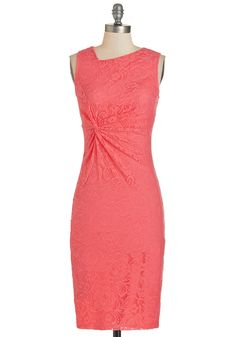 Sassy to See Dress in Coral - Coral, Solid, Cocktail, Sheath, Sleeveless, Spring, Lace, Long, Cutout
