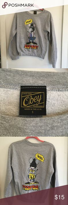 Obey rat pack crew neck sweatshirt 💕 size small, great condition. Obey Tops Sweatshirts & Hoodies