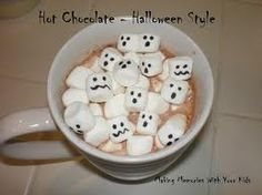 hot chocolate with ghost marshmellows
