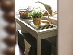Reconsider Unwanted Items  Don't toss your old shutters and doors! Worn doors and shutters can be reused in many unique ways around the home. Shutters can be repurposed as console tables and doors can be transformed into wall art with photos or wallpaper cutouts. Before getting rid of anything, consider the possibilities!