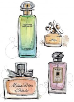 Super Ideas for fashion drawing watercolor perfume bottles Paper Fashion, Doodles, Smell Good, Fashion Sketches, Fashion Drawings, Fashion Illustrations, Vintage Posters, Art Projects, Art Photography