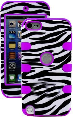 myLife Purple + Zebra Stripes Layered Survivor (3 Piece Slim Infinity) Hybrid Grip Case for Apple iPod 5 (5G) 5th Generation iTouch (Interna...