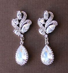 Bridal Earrings Leaf and Crystal Drop Bridal Jewelry by JamJewels1, $39.00