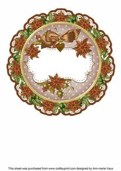 Tea Christmas Poinsettia Doily Card Insert Panel on Craftsuprint - Add To Basket! Christmas Decoupage, 3d Christmas, Christmas Poinsettia, Christmas Stickers, Scrapbook Pages, Scrapbooking, Circle Shape, Doilies, Embellishments
