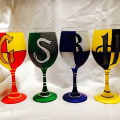 Harry Potter House Crest inspired Hand Painted Wine Glass.