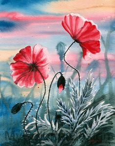 2 Poppy Flowers by Dusty-Feather on deviantART