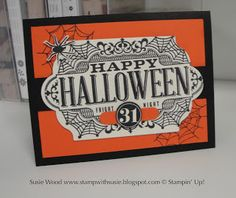 Stampin' Up!- a cute spider on this Halloween card using the sets- 'Witches Night' & 'Cheer All Year'!
