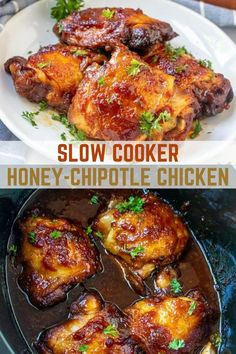 Slow Cooker Honey-Chipotle Chicken with a sweet and spicy sauce you'll love on steamed rice or mashed potatoes. Only 10 minutes of prep time and the crockpot does all the work! #slowcookerrecipes #chicken #crockpotrecipes #weeknightdinners Slow Cooker Recipes, Meat Recipes, Crockpot Recipes, Protein Recipes, Turkey Recipes, Yummy Chicken Recipes, Vegan Recipes Easy, Amazing Recipes, Delicious Recipes