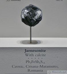 Jamesonite with Calcite, Cavnic, Maramures, Romania
