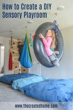 Here is how to use therapy swings to create a sensory friendly playroom that will keep your kids happy and busy. Indoor Playroom, Modern Playroom, Playroom Design, Kids Basement, Kids Gym, Cool Kids Rooms, Sensory Rooms, Playroom Furniture, Playroom Storage
