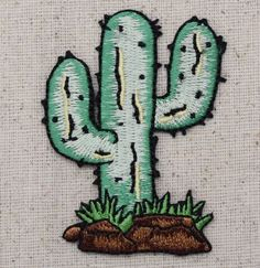 Iron On Embroidered Applique Patch Cactus Desert Western Southwest