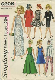 Vintage Barbie Doll Clothes Sewing Pattern | Wardrobe Suitable for Such Teen Model Dolls as Annette, Mitzi, Gina, Kay, Polly Jr., Barbie, Babs, Midge and Misty | Simplicity 6208 | Year 1965 | One Size