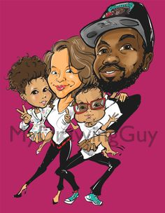 Large Caricature with 2 or more persons by MyDrawingGuy on Etsy