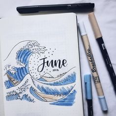 JUNE SPREAD 🌊 + i've wanted to do a theme inspired by 'the great wave off kanagawa' since forevER & now here we are! Bullet Journal Fonts, Bullet Journal Notebook, Bullet Journal Aesthetic, Bullet Journal School, Bullet Journal Ideas Pages, Bullet Journal Inspiration, Bullet Journal June, Bellet Journal, Kalender Design