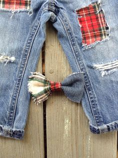 Unisex kids jeans plaid patchwork distressed pants girls pants boys jeans all sizes free girls matching hair bow infant headband by MountainMadeDenim on Etsy