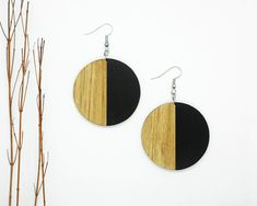 We' ve all got both light and dark inside of us. What matters is the part we choose to act on. Wooden Earrings, Earrings Handmade, Handmade Chandelier, Circle Shape, Chandelier Earrings, Dark Colors, Light In The Dark, Silver Plate, Contrast