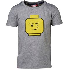 LEGO Wear ▶ A soft cotton T-shirt for boys with round neck and LEGO® head print on the chest. ▶ Model: grey melange