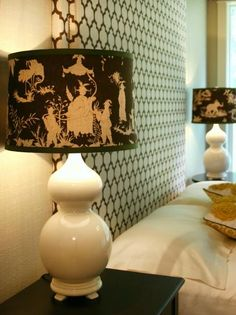 White Lamp With Trendy Brown Patterned Lampshade