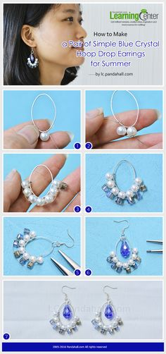 Tutorial on How to Make a Pair of Simple Blue Crystal Hoop Drop Earrings for Summer from LC.Pandahall.com