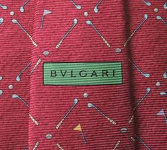 Bvlgari Tie Woven Silk Twin Golf Repeat Pattern Red by InPersona