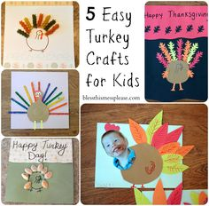 5 Easy Turkey Crafts for Kids - cute ideas for school or to do with the cousins while they wait for dinner on Thanksgiving day!