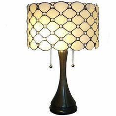 Vintage Look Jeweled Drum Shade Stained Glass Tiffany Style Table Lamp Decor | eBay
