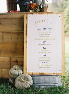 supper in the field menu by Ritzy Bee Events, signage by @simplesong. Photography by Clark Brewer.