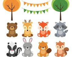 Woodland bebé animales imágenes prediseñadas / imágenes prediseñadas de animales del bosque bosque bebé ducha imprimible