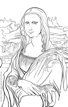 Free Art History Coloring Pages: Mona Lisa Coloring Page