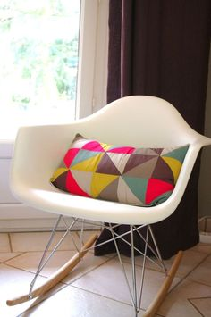 Coussin triangles avec tissus France Duval Stalla