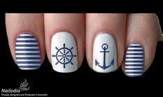 Anchor Sailor Navy Nail Art Sticker Water Transfer Decal 05 Source by Nautical Nail Designs, Nail Art Designs, Nautical Nail Art, Anchor Nail Designs, Nails Design, Design Art, Navy Nail Art, Navy Nails, White Nails