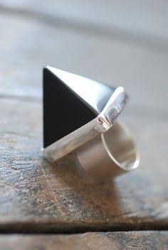 Dollybird Temple Ring Black Obsidian by dollybirddesign on Etsy, $185.00