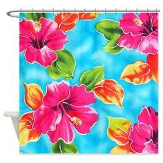Beach Shower Curtain Hibiscus Curtains Store