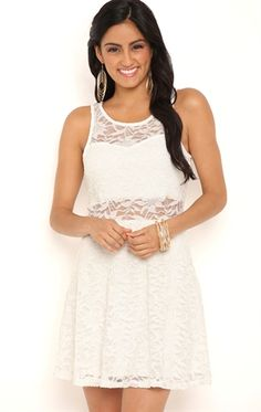 da32207431 Short Lace Skater Dress with Illusion Neckline and Waist School Dances