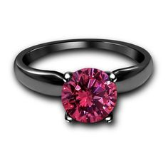 1CT Pink Sapphire 925 Sterling Silver Solitaire Engagement fine Ring in All Sz #Solitaire