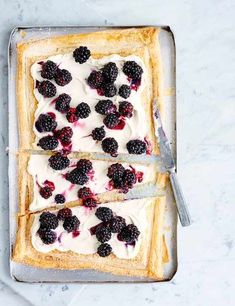 Blackberry mascarpone tart Our blackberry tart is super simple to make and doesn't require many ingredients. With crisp puff pastry and creamy mascarpone, this is ideal for a light dessert after an indulgent meal.