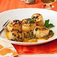 Lemon-Caper Scallops - Rachael Ray Magazine May 2012 - Double/Triple sauce and serve over noodles?